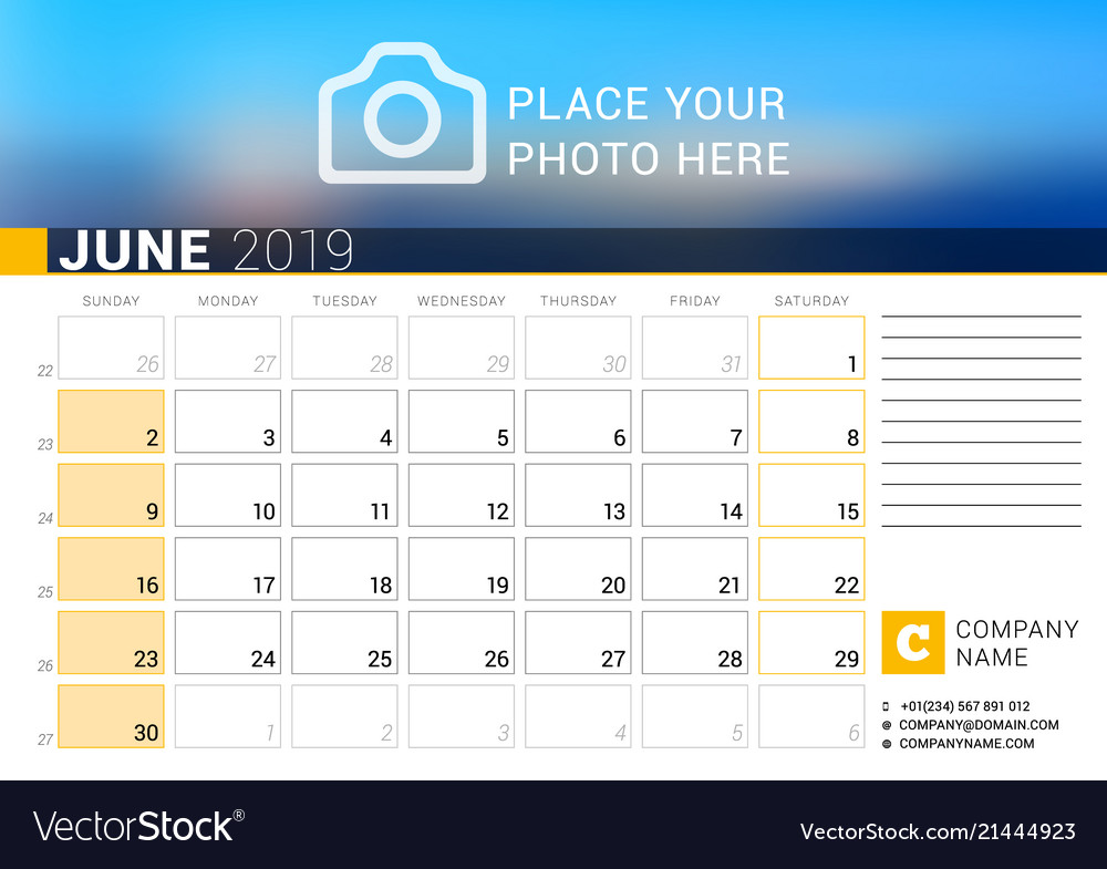 Calendar for june 2019 design print template with