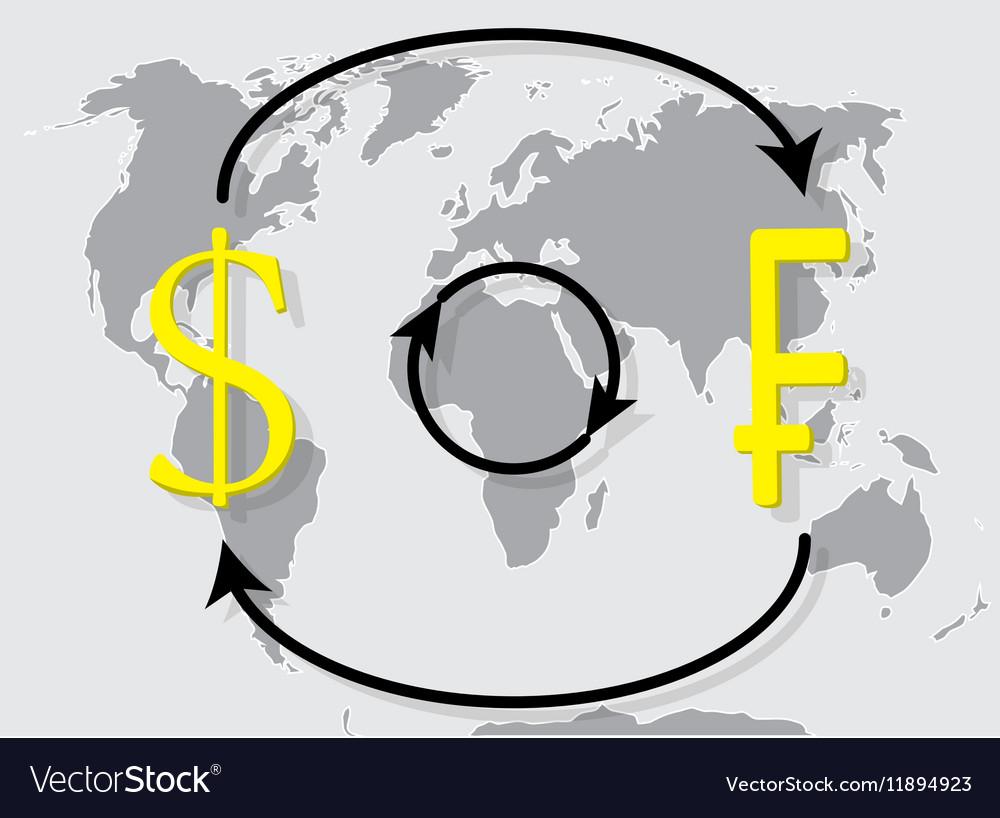 Currency exchange franc dollar on world map backgr vector image
