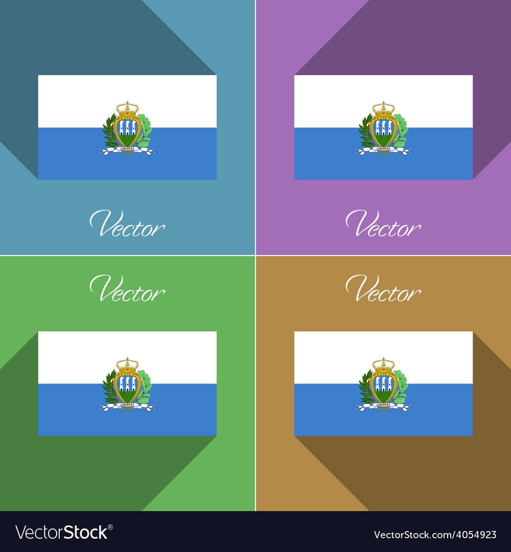 Flags San Marino Set of colors flat design and Vector Image