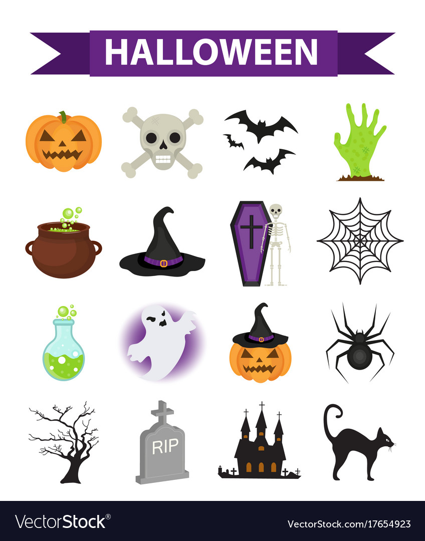 Happy halloween icons set flat style isolated on