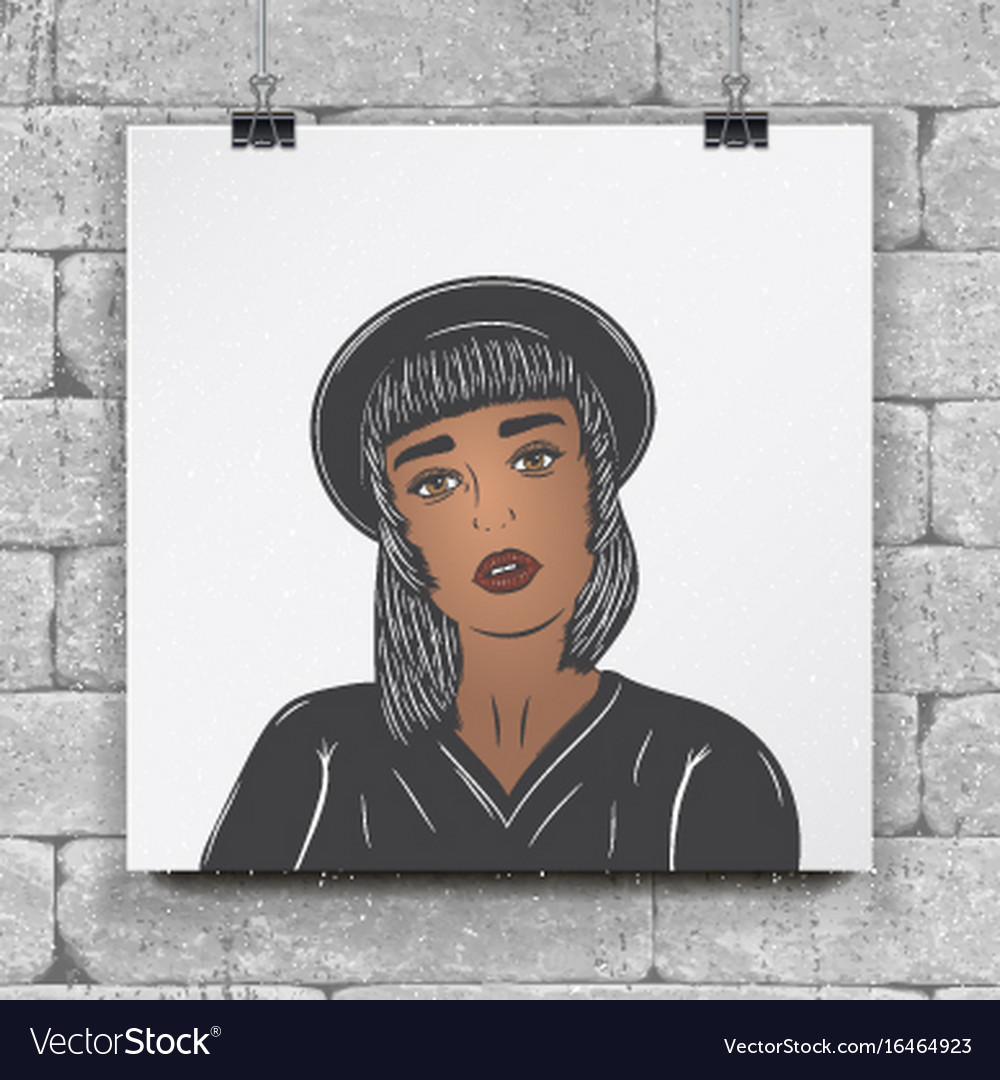 Mulatto girl in a black hat fashion show flat vector