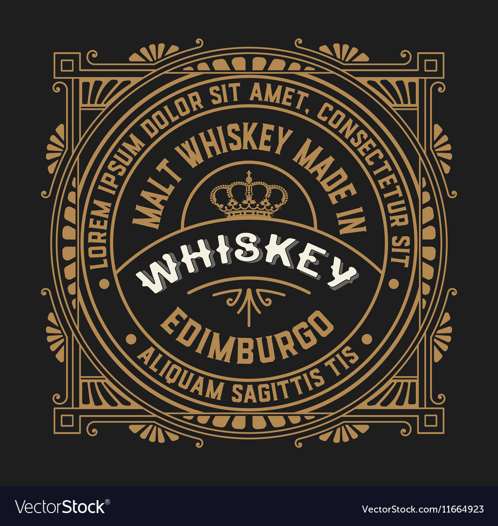 Old label design for Whiskey and Wine label vector image