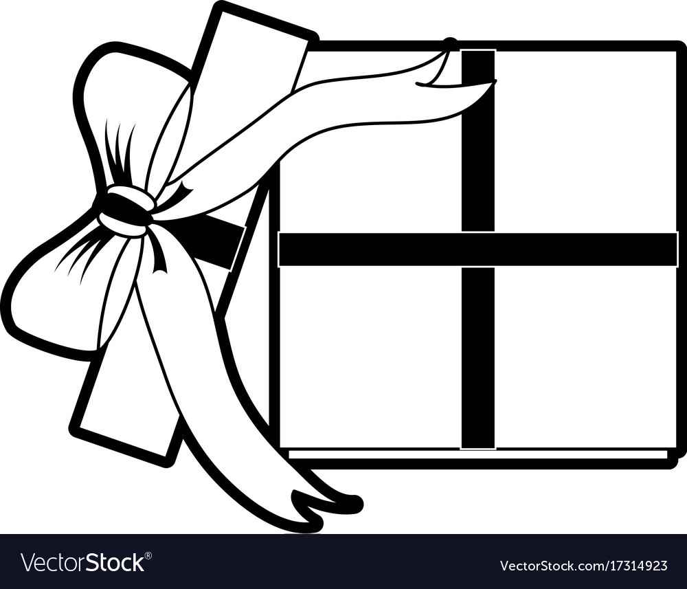 Open gift box with ribbon bow icon image
