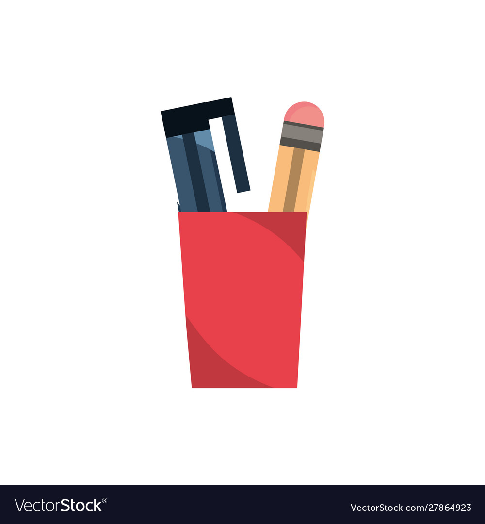 Pencil and pen office work business equipment icon
