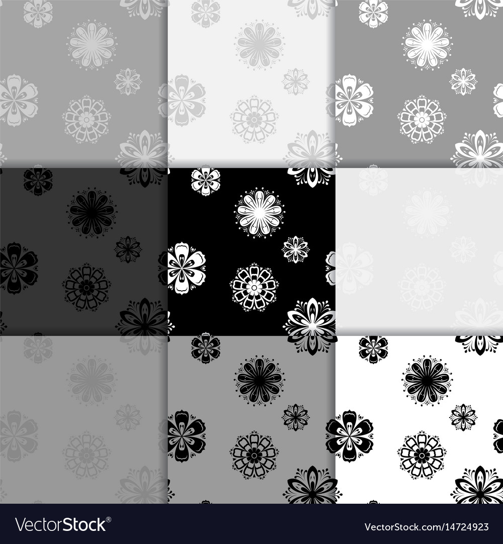 Seamless floral black and white backgrounds set