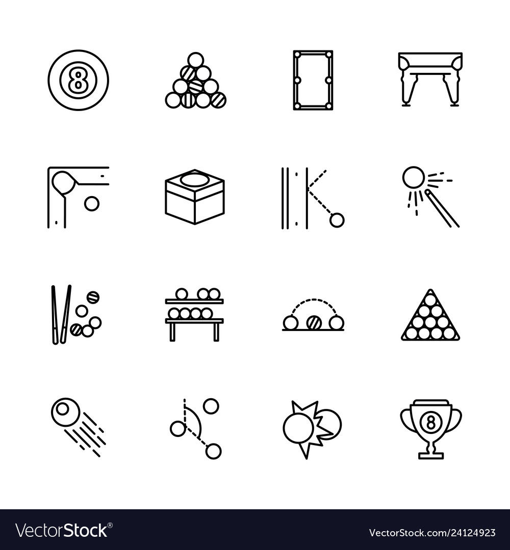 Simple icon set billiard game contains such