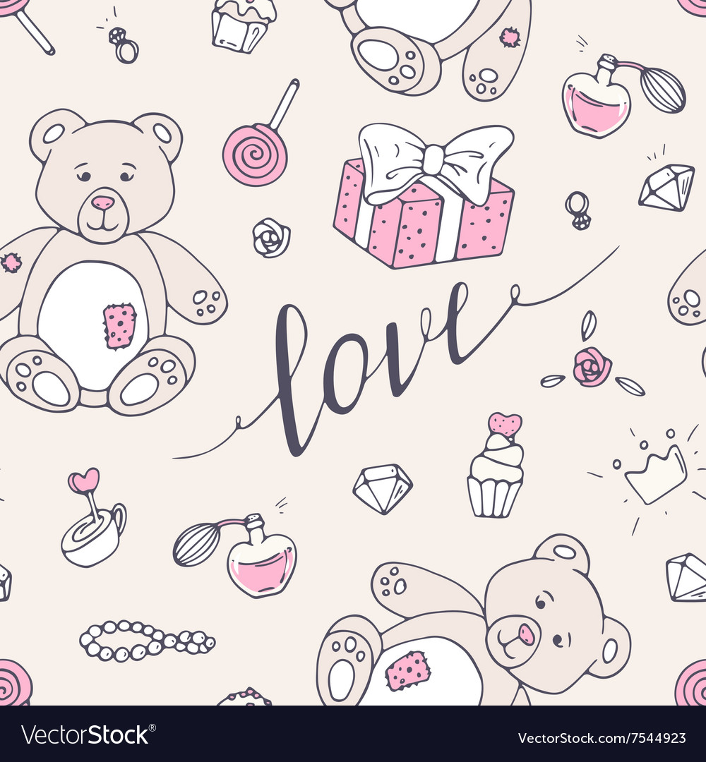 Valentine day seamless pattern with teddy bear