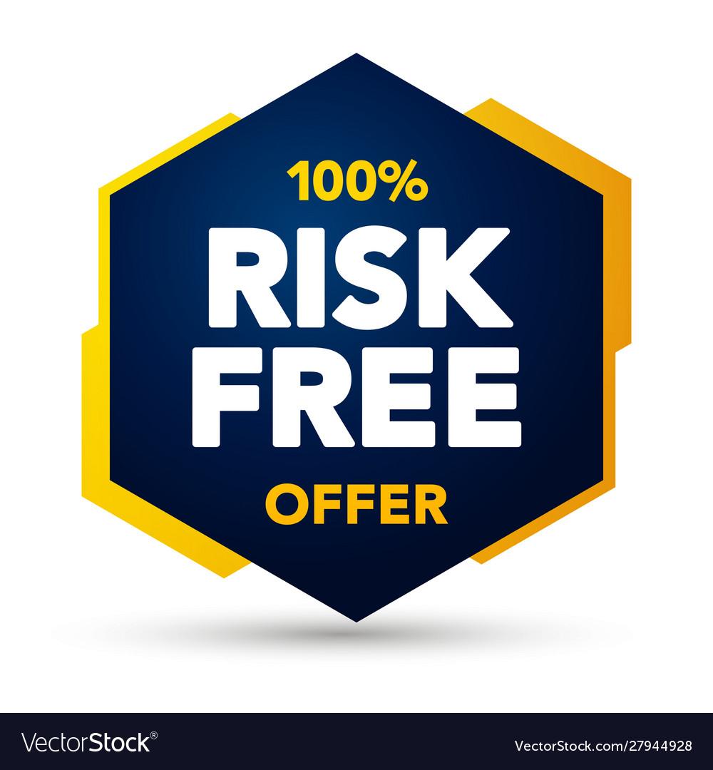100 percent risk free offer label web banner