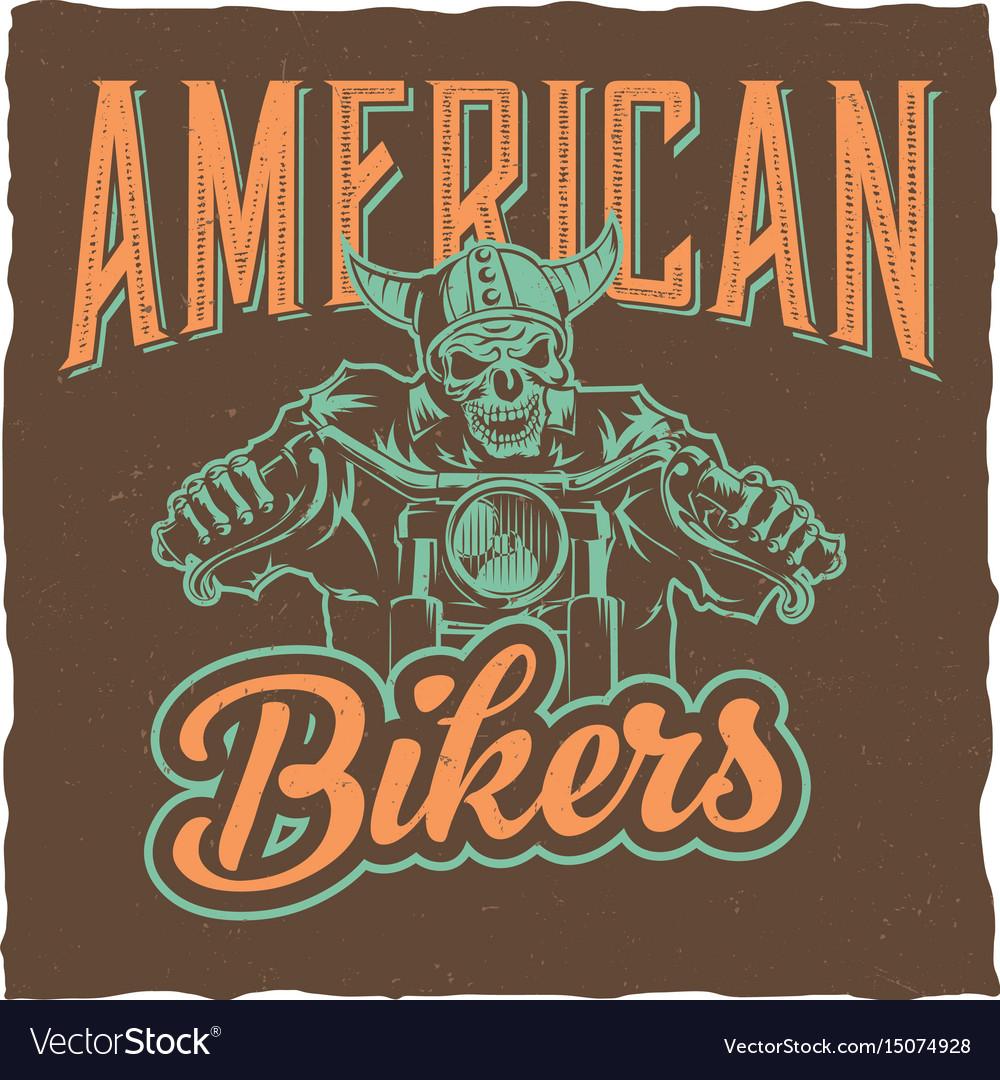 Biker T Shirt Label Design Royalty Free Vector Image