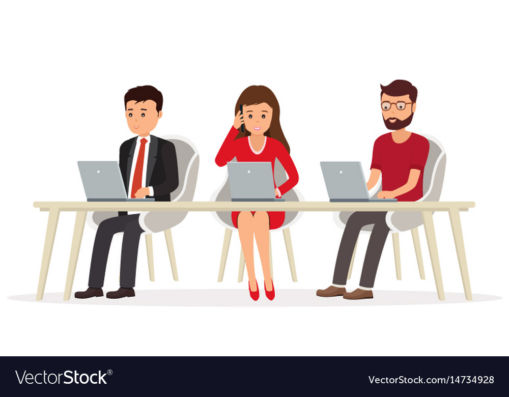 Business people behind a desk working