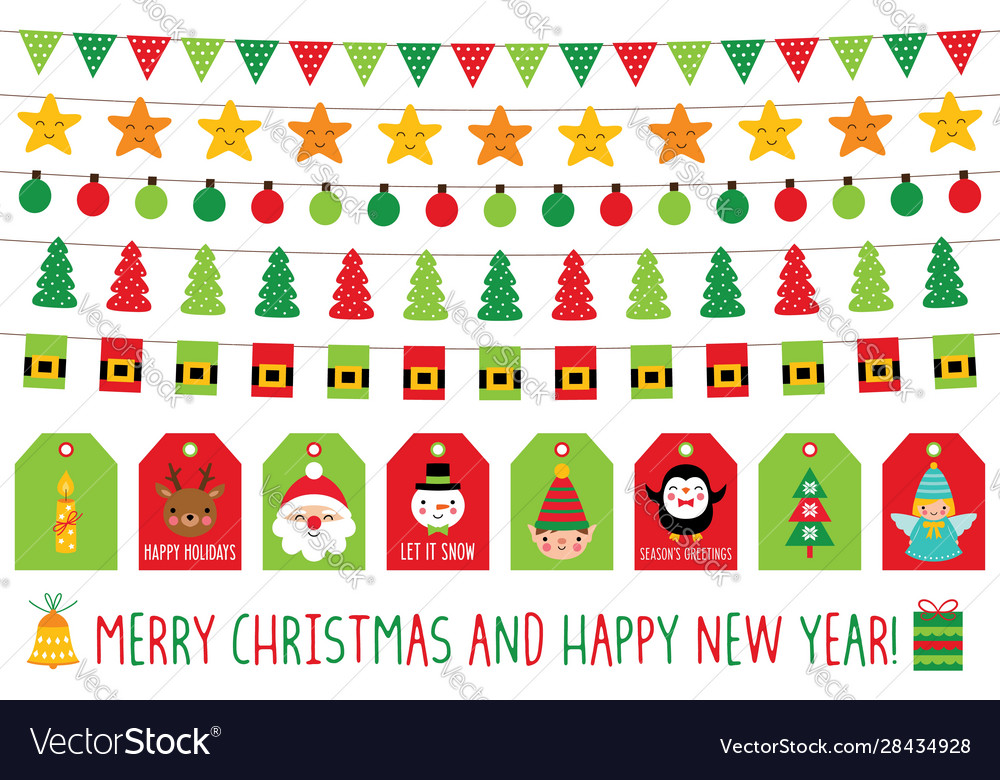 Christmas banners and gift tags isolated graphic
