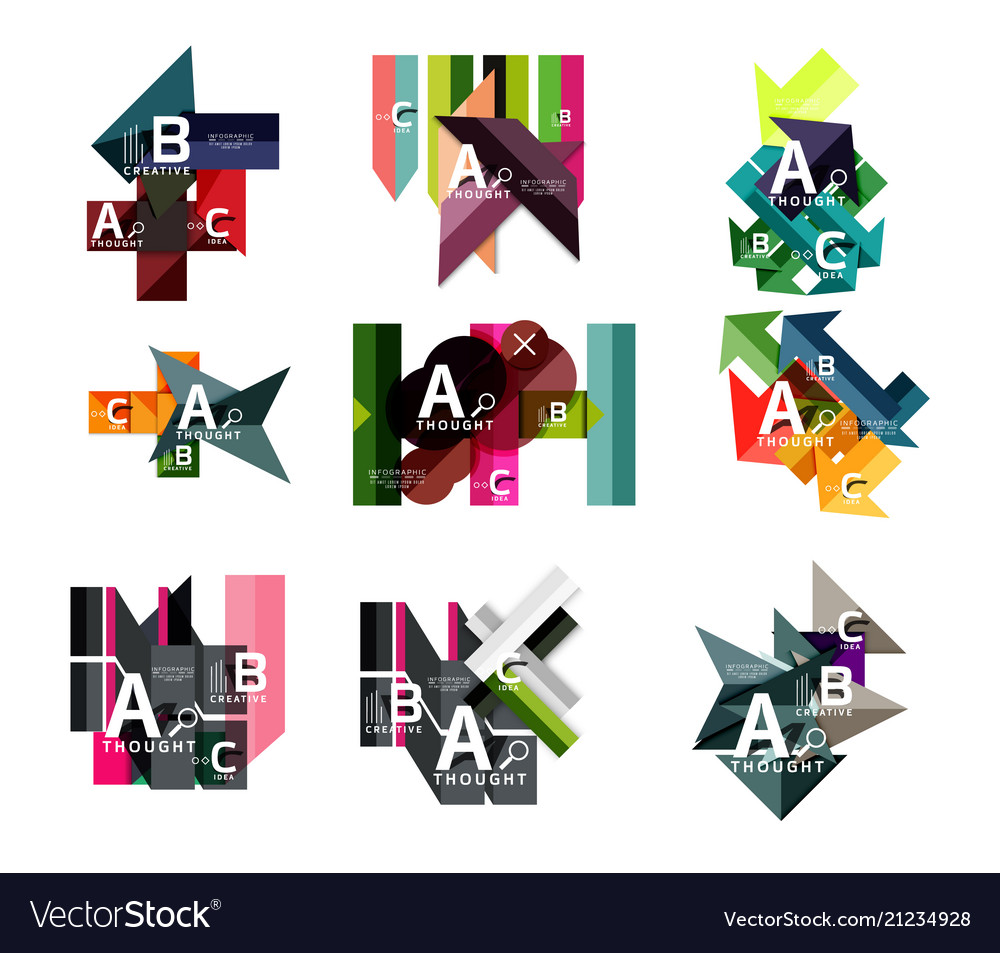 Collection of paper geometric infographics a b c