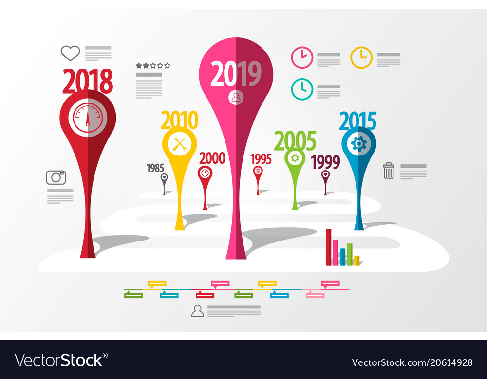 Colorful timeline laout infographic template with vector image