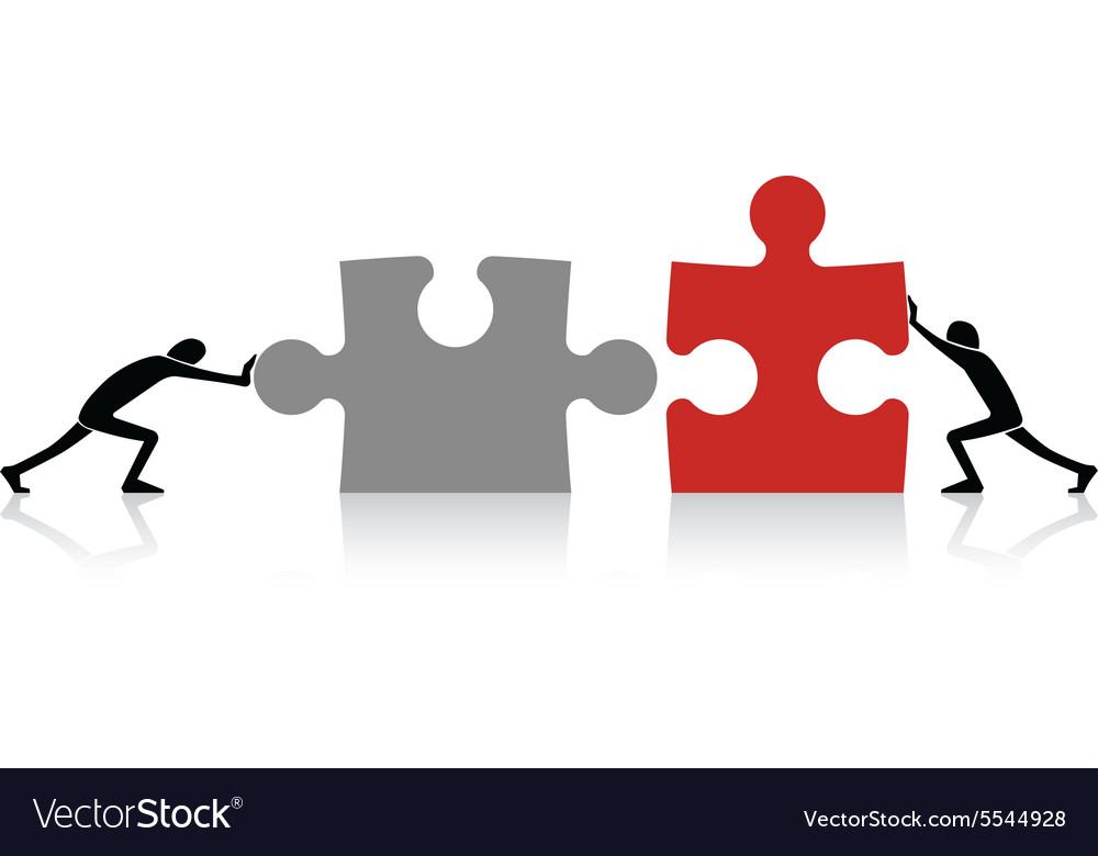 connecting puzzle pieces royalty free vector image