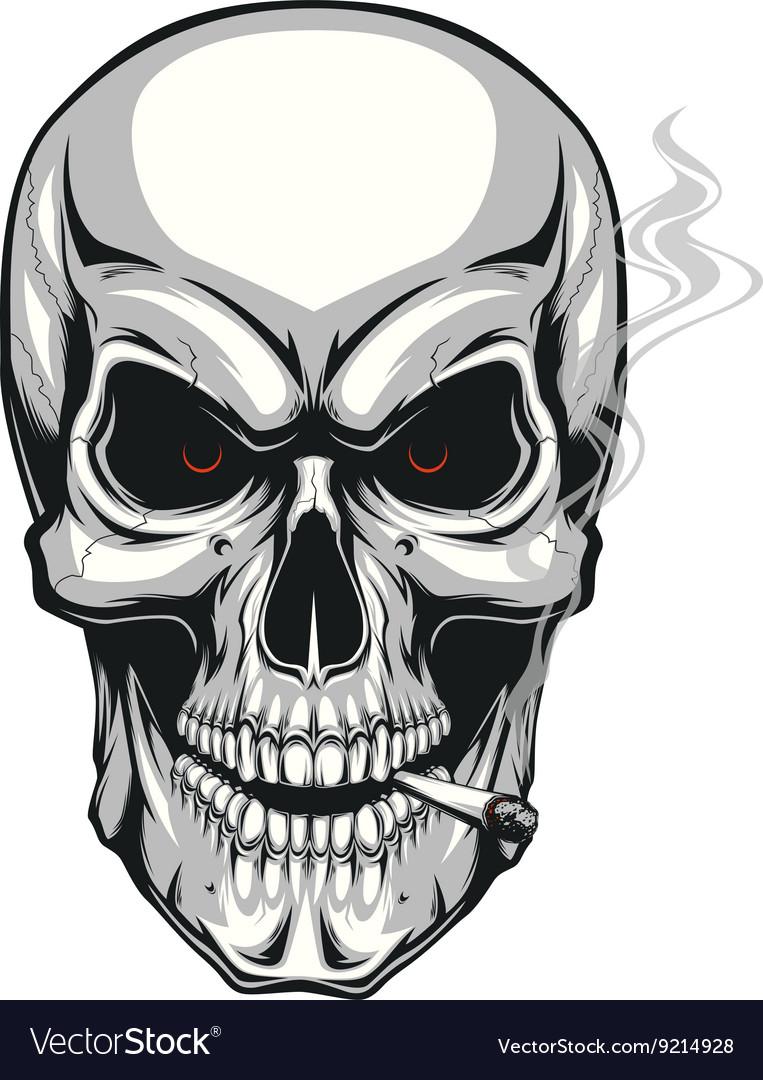 Evil skull with cigarette