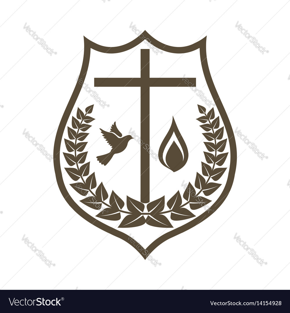 Logo cross dove and flame spirit vector image