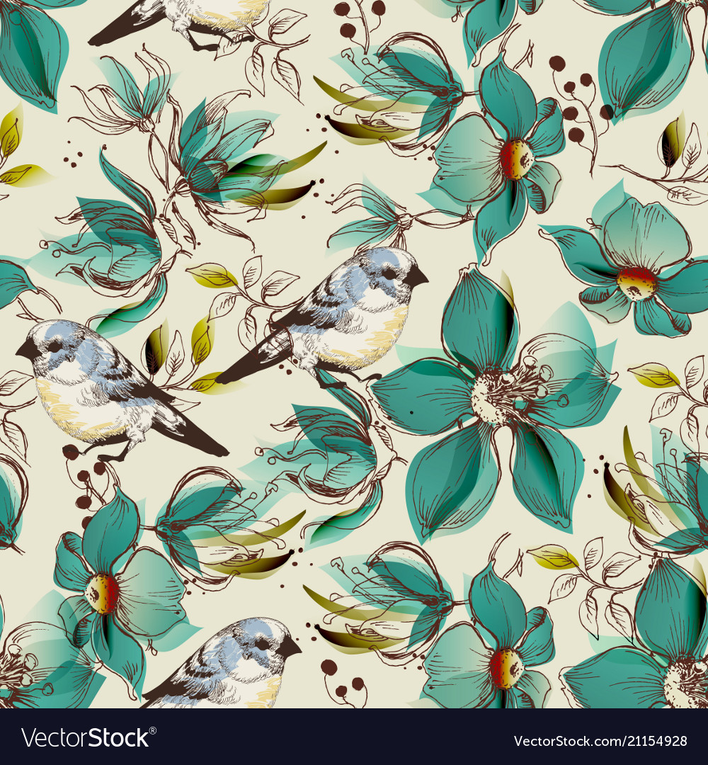 Retro seamless pattern cute flowers and birds