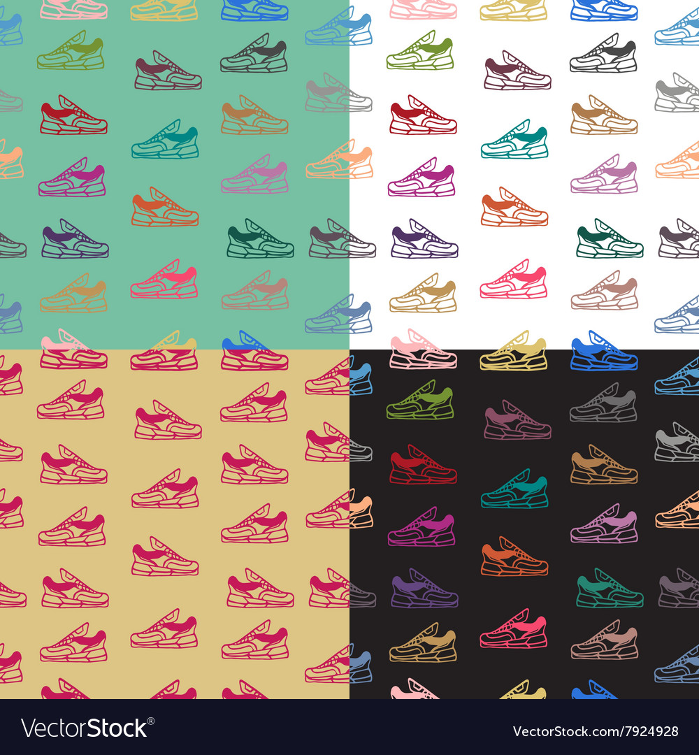 Seamless pattern with sneakers shoes