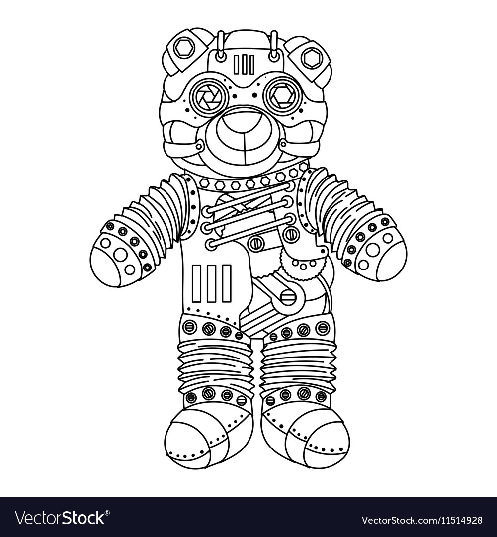 Steampunk style bear coloring book Royalty Free Vector Image