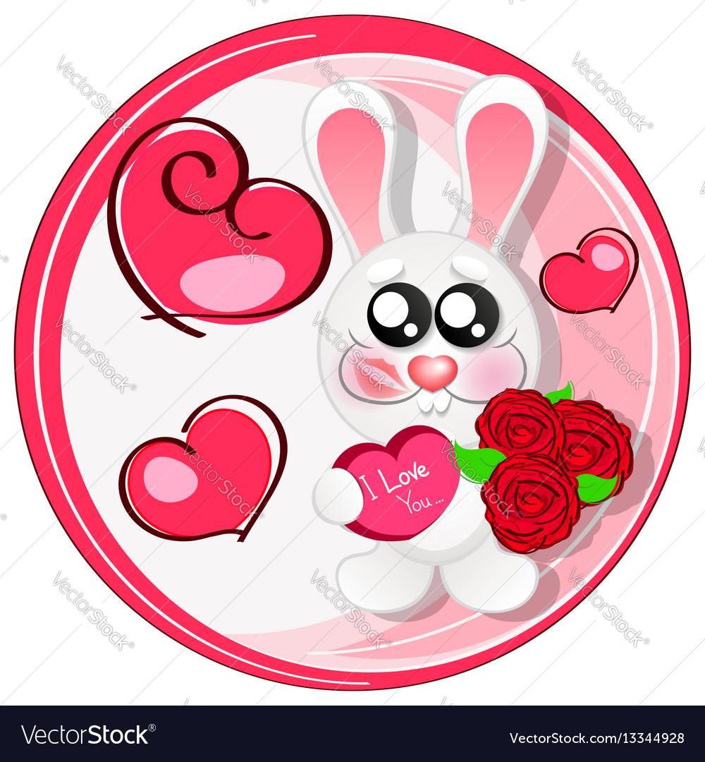 Wedding card with cute cartoon rabbits in love