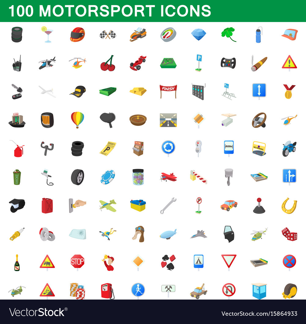 100 motorsport icons set cartoon style