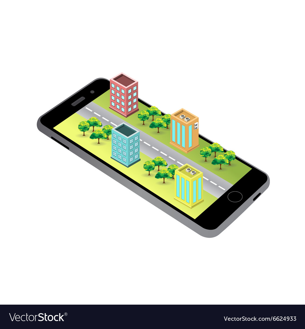 3D map Isometric buildings on the screen of the sm