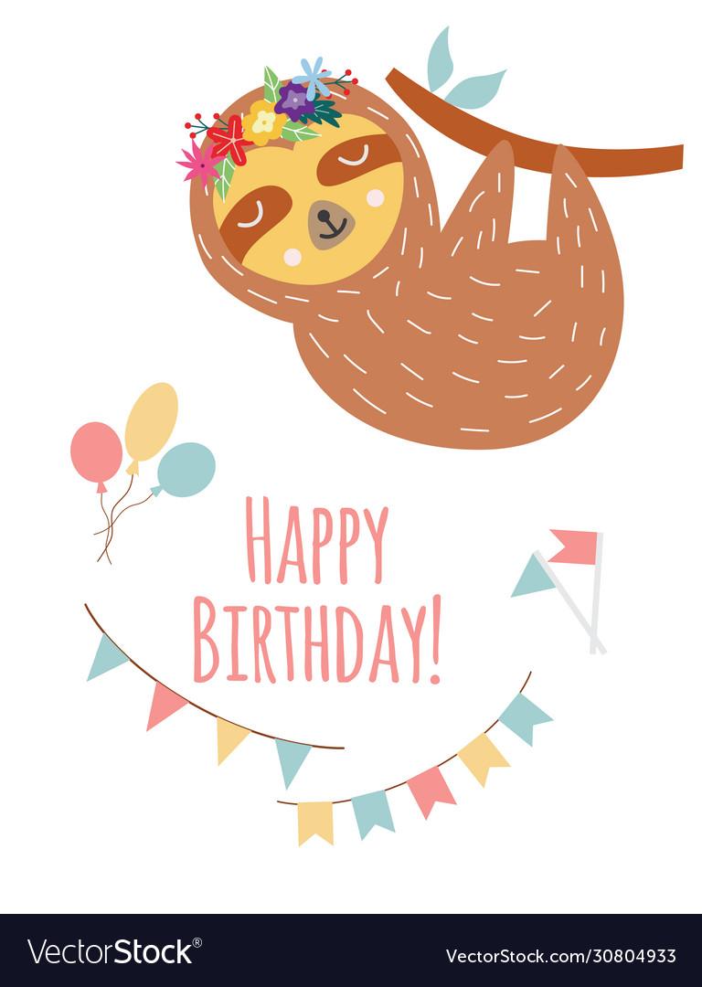 Birthday greeting card with cartoon sloth