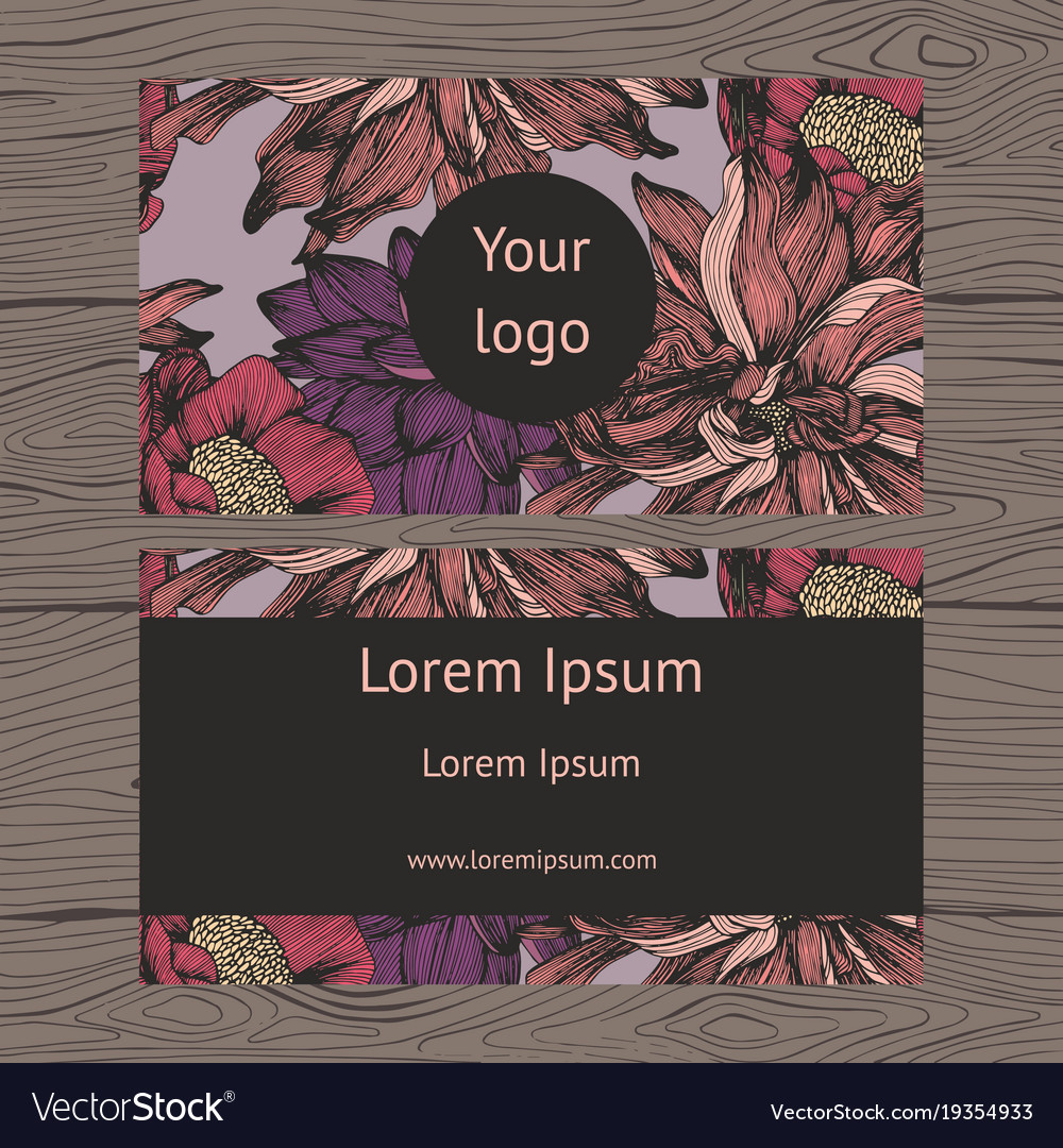 Business card detailed floral background