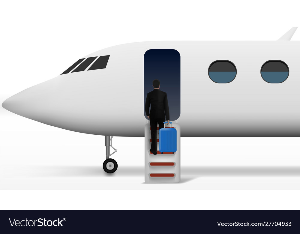 Businessman with trolley suitcase walking in plane