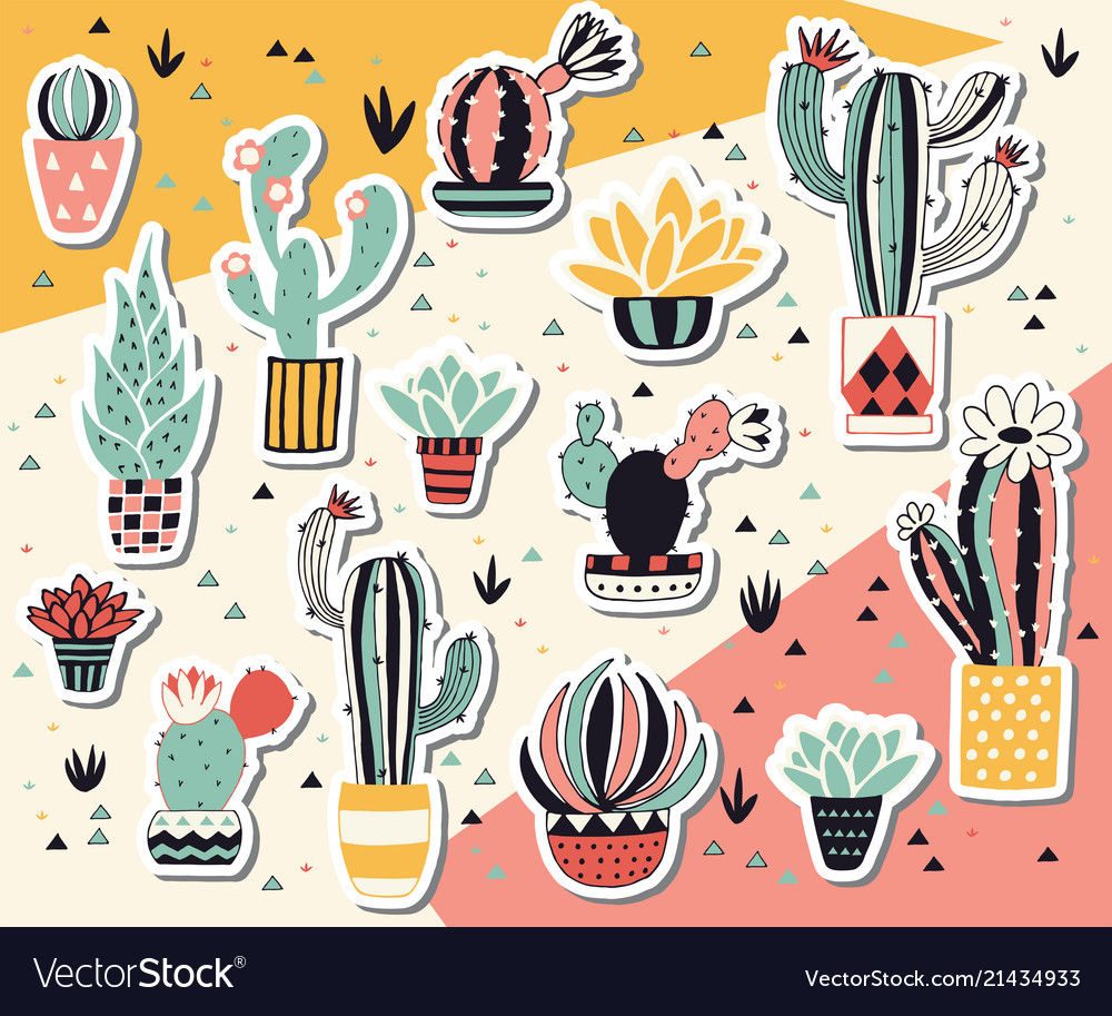 Cactus in a pot sticker collection