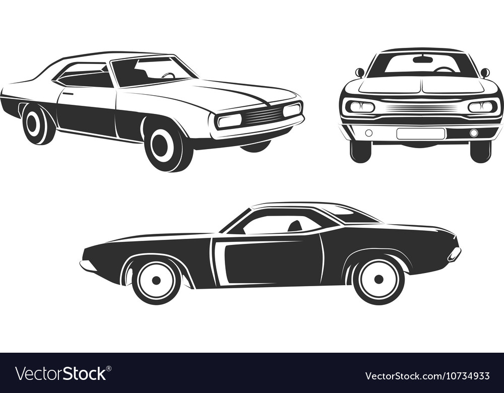Classic retro muscle cars set