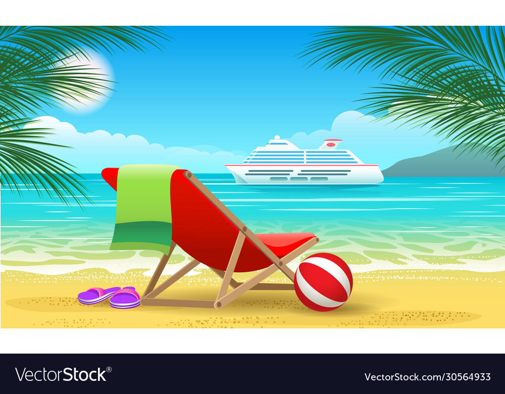 Cruise vessel and beach
