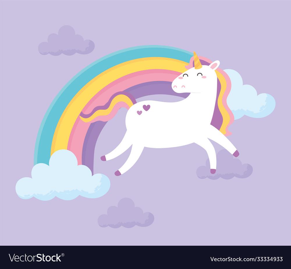 Cute magical unicorn rainbow clouds sky animal