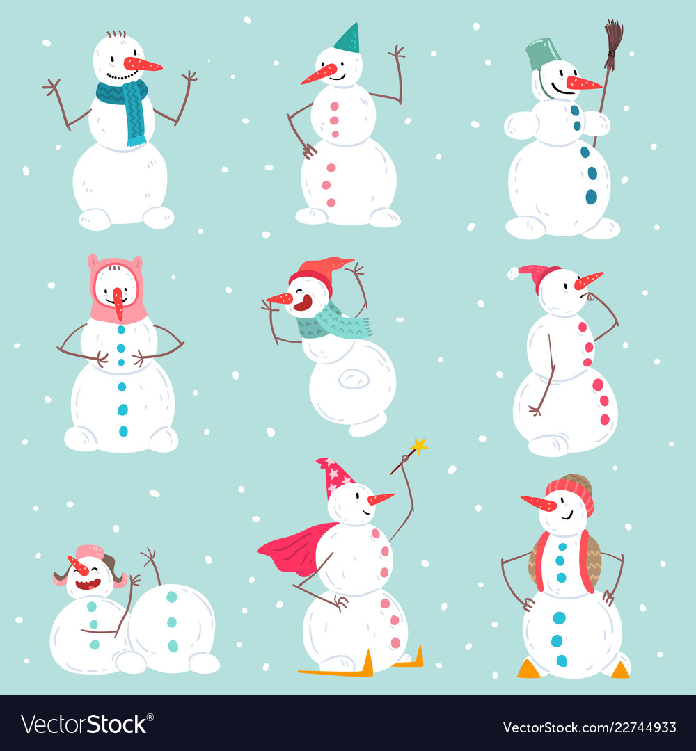 Funny emotional snowmen characters set in
