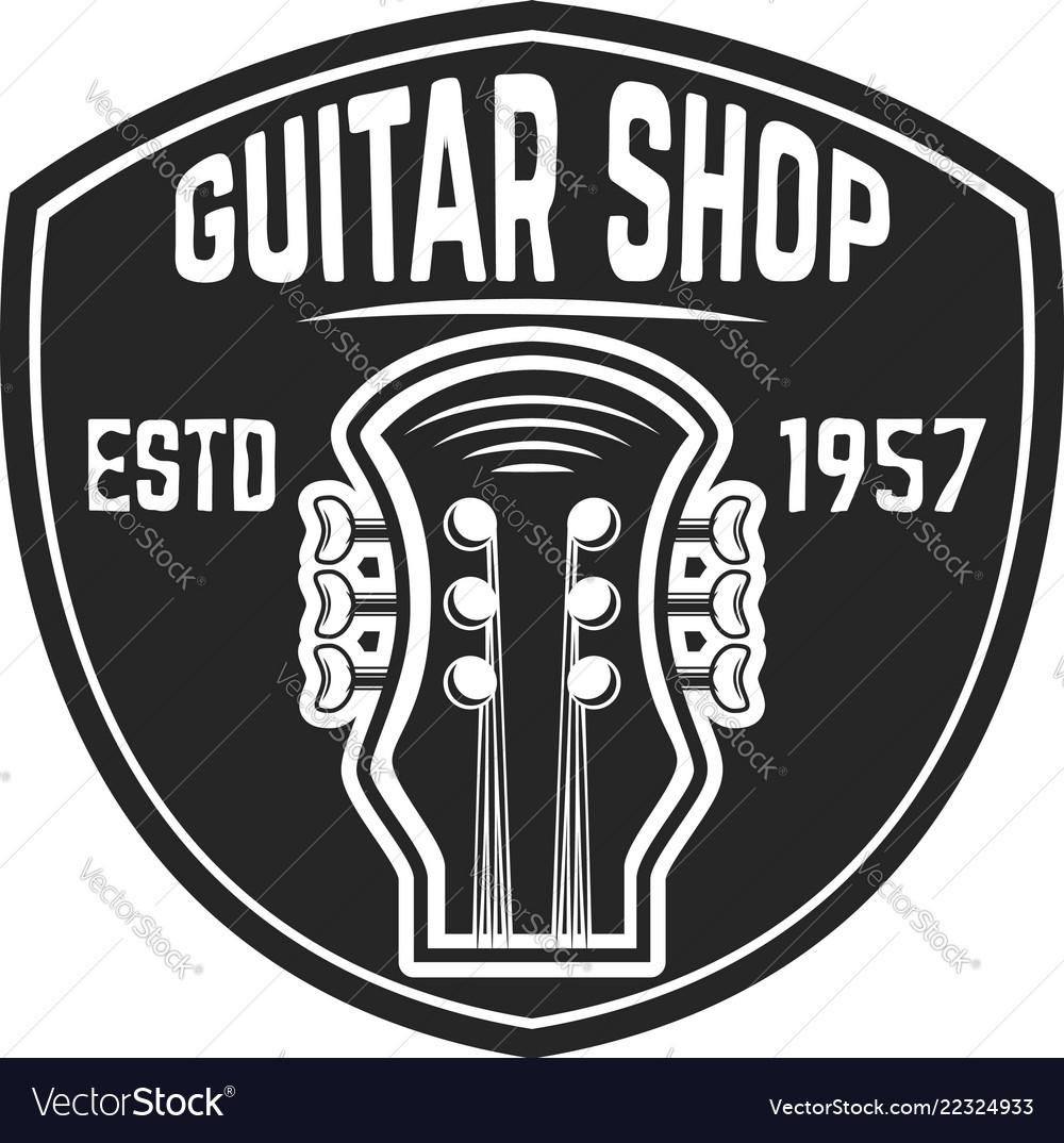 Guitar shop emblem template design element for
