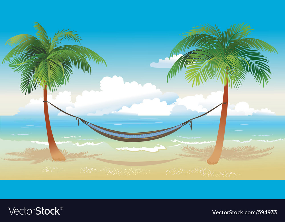 Hammock And Palm Trees On Beach Vector Image