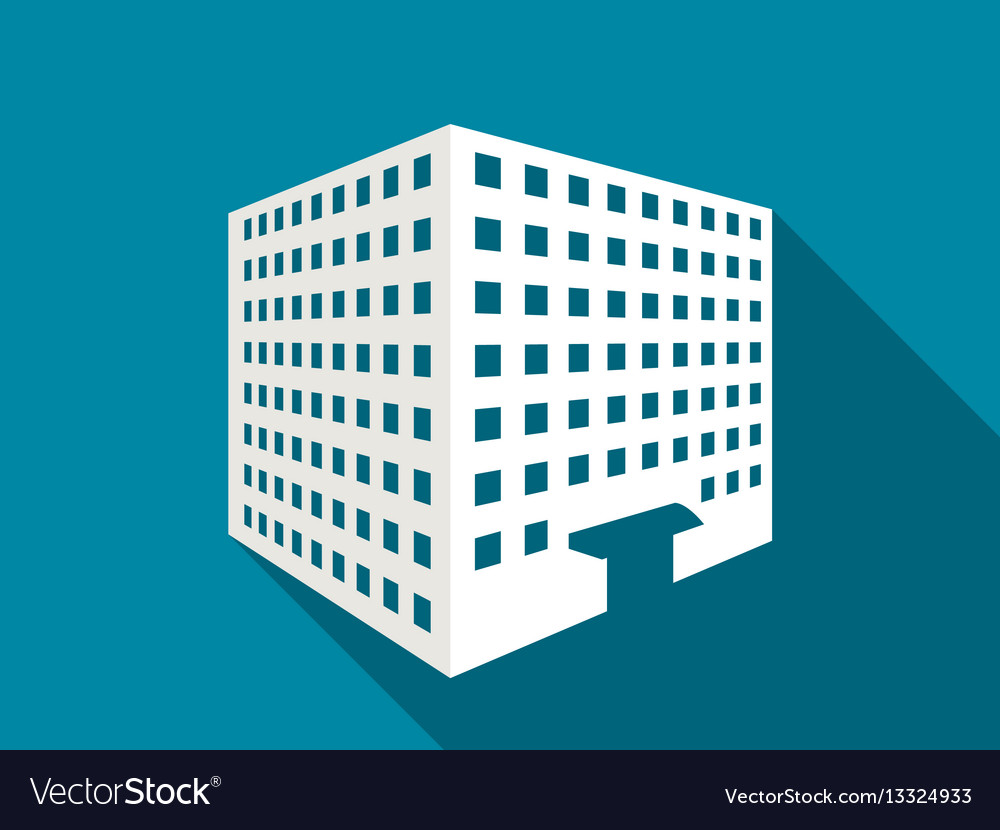 Multi-storey building with a long shadow flat