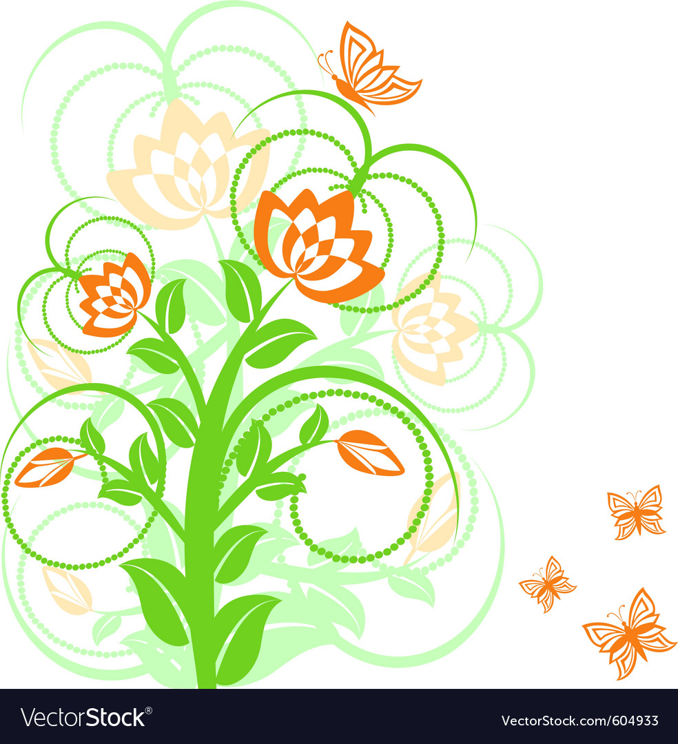 Of a floral background with butterflies