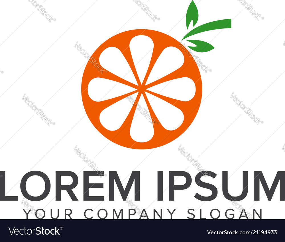Orange fruit logo design concept template
