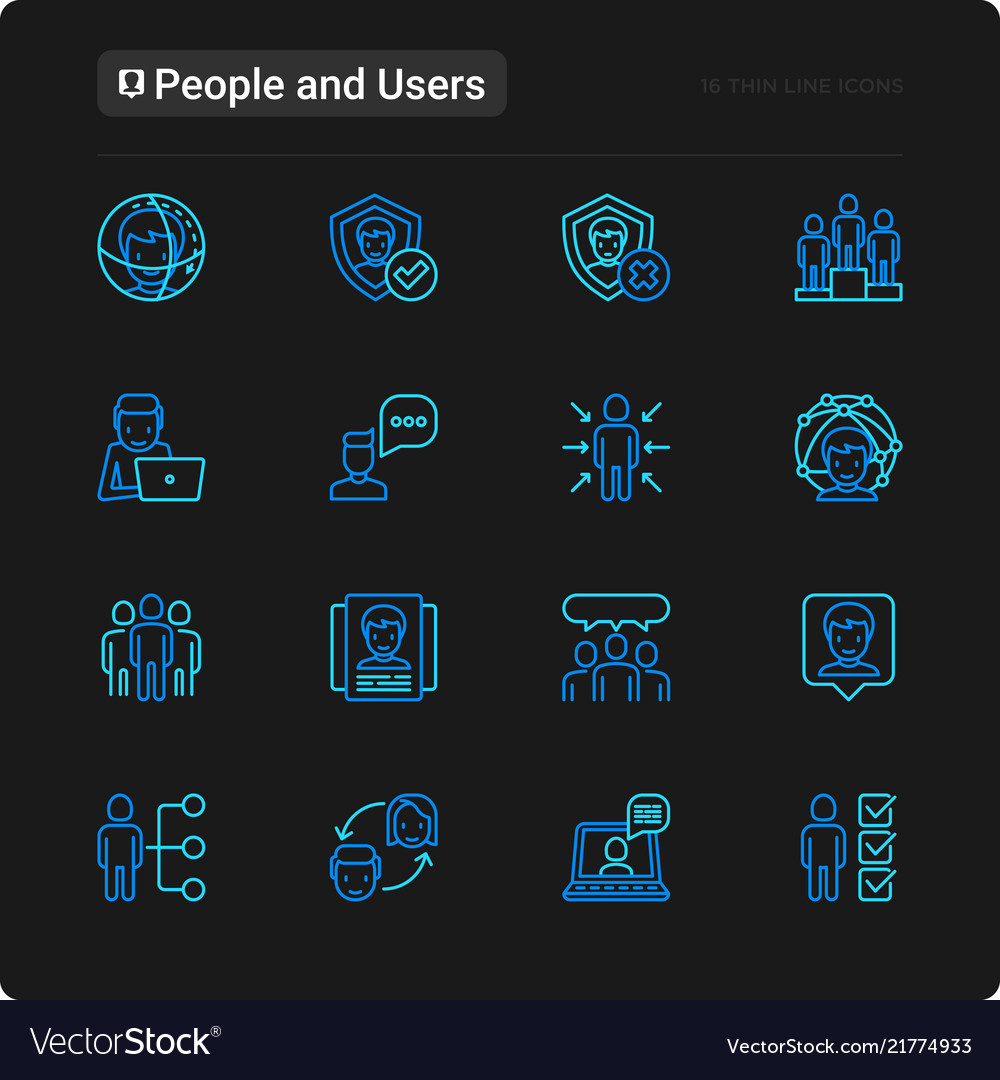 People and users thin line icons set