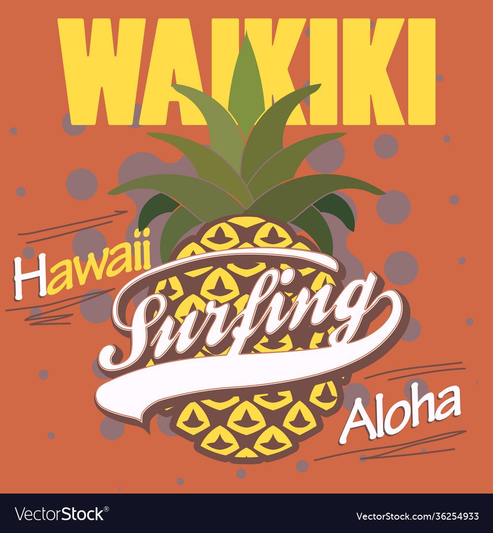 Surfing t-shirt graphic design hawaii print stamp