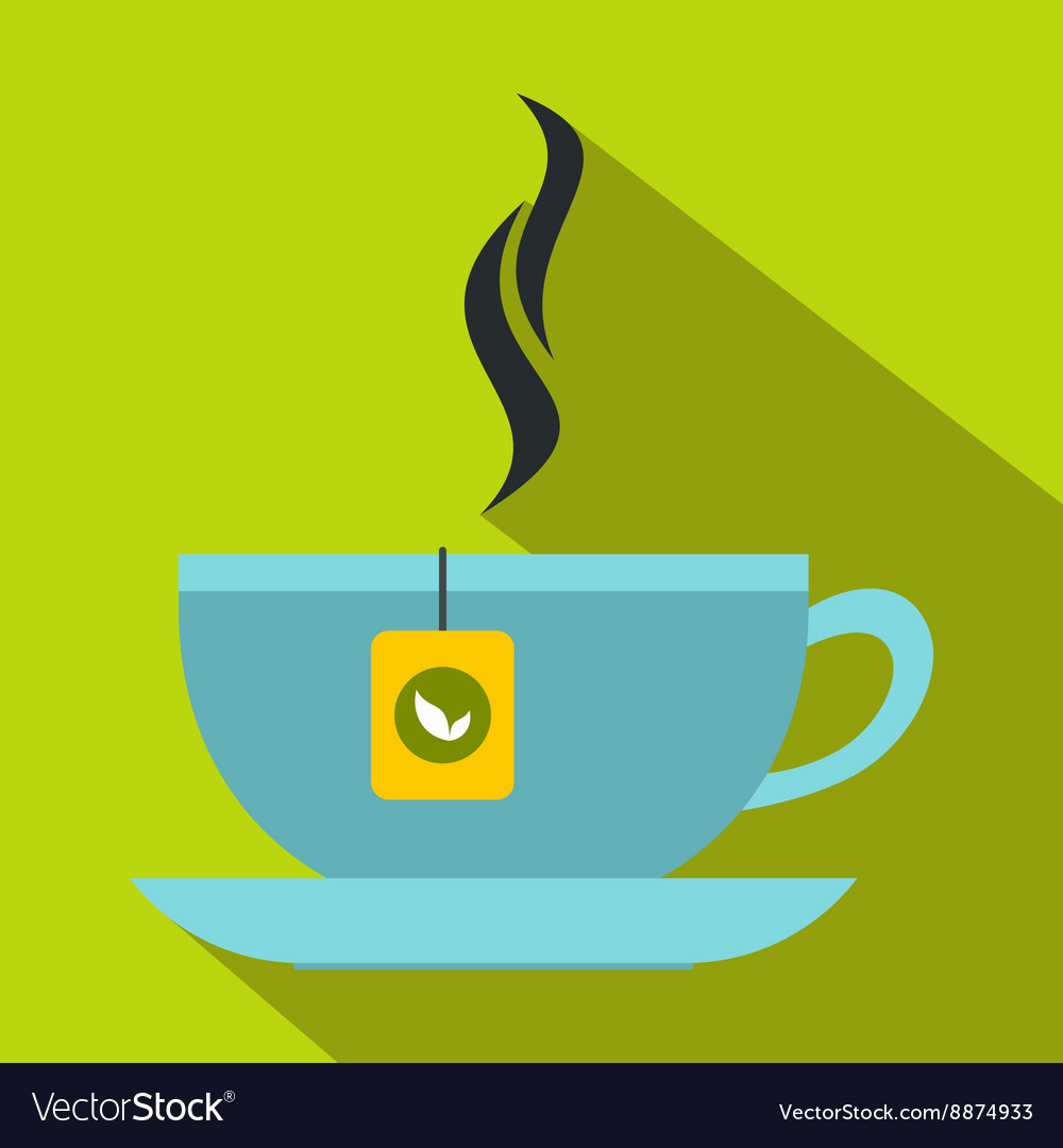 Tea cup icon flat style