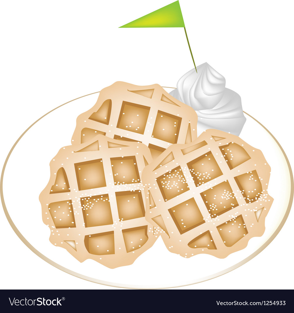 Three Baked Waffles with Icing and Whipped Cream vector image