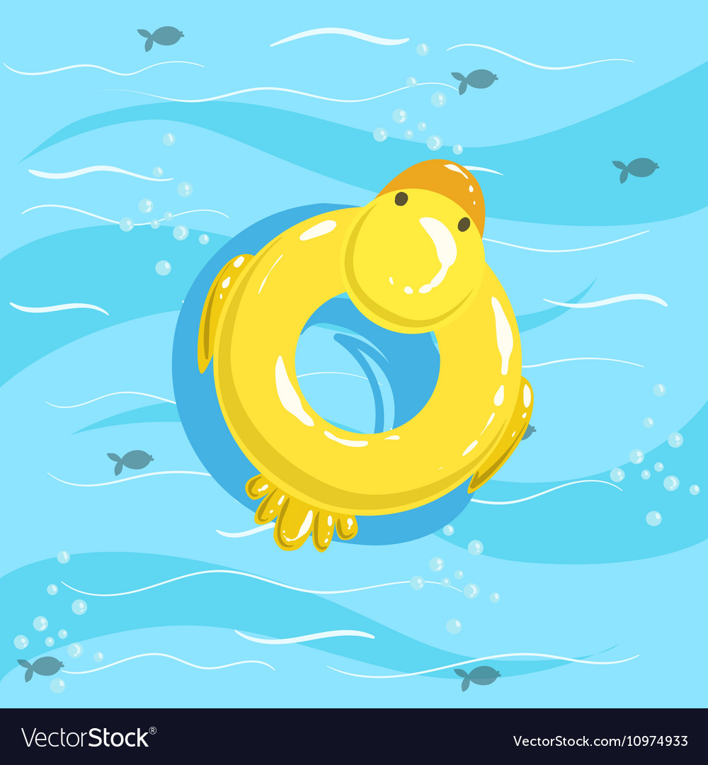 Toy Inflatable Duck Ring With Blue Sea Water On