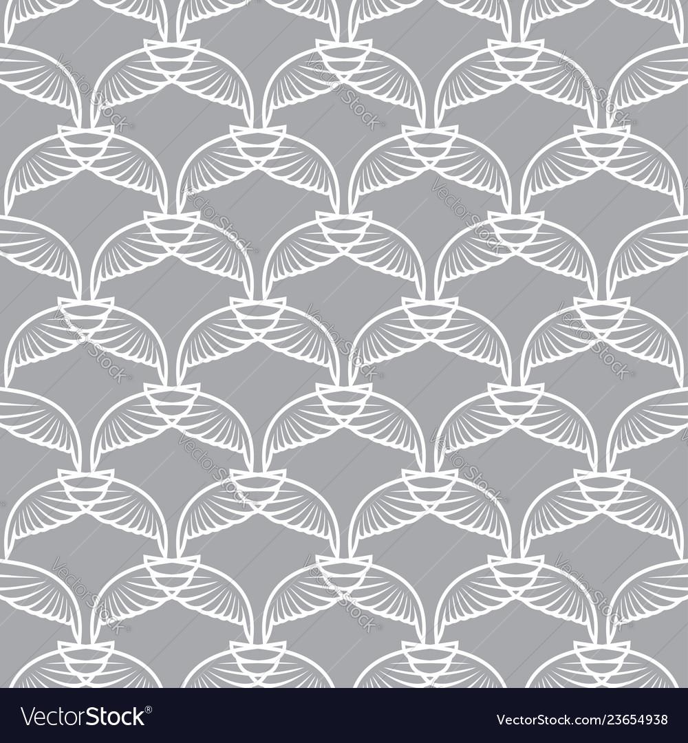 Angel wings grid white gray art seamless sketch
