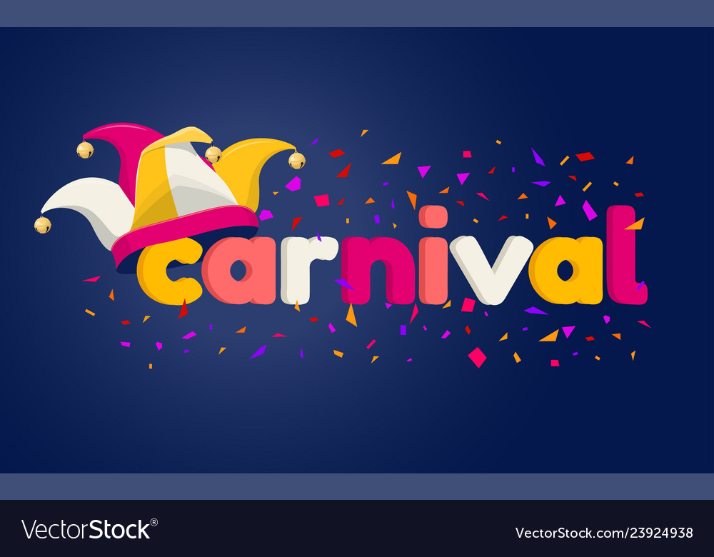 Carnaval lettering with jester hat