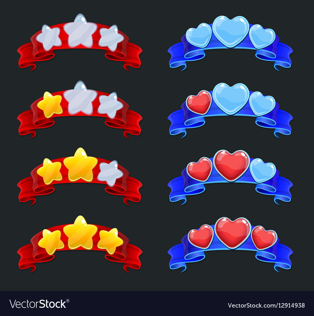 Cartoon Game Ranking Elements Set vector image