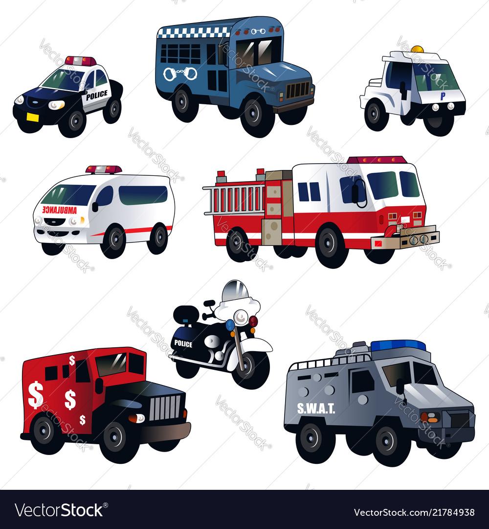 Cartoon law enforcement cars