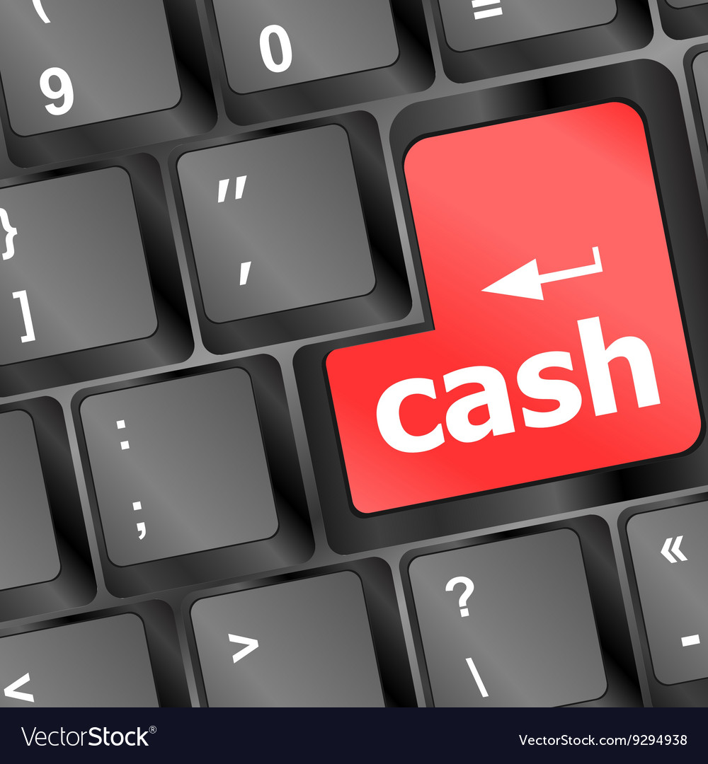 Cash for investment concept with a red button on