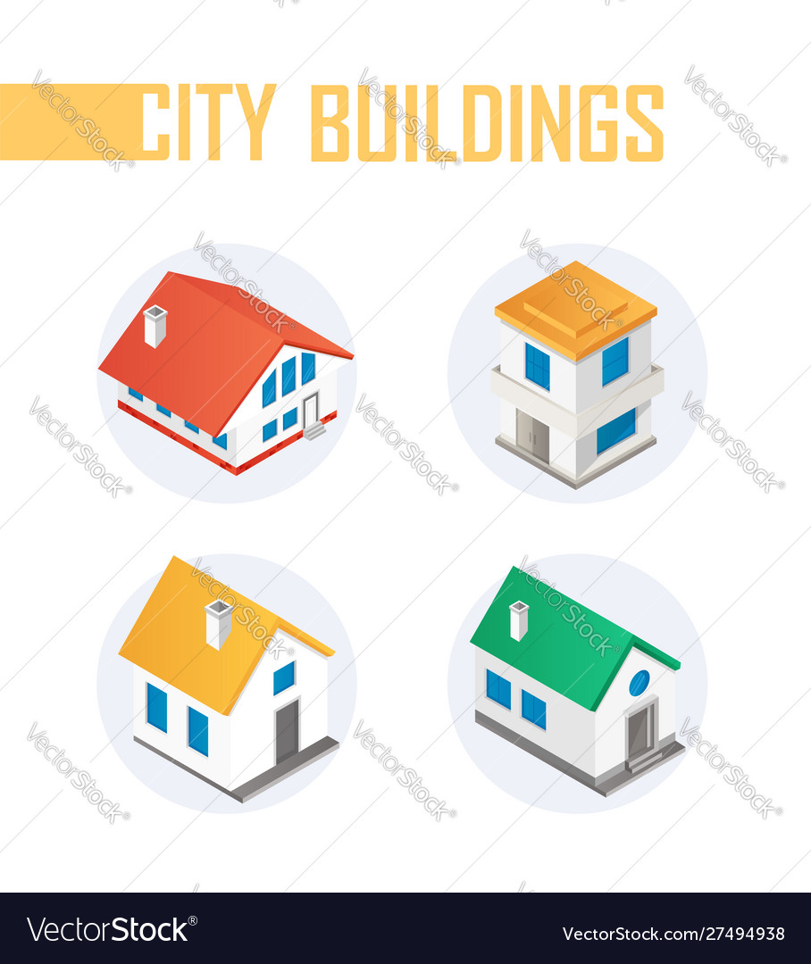 City buildings - modern colorful isometric